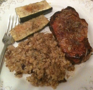 Garlic Rosemary Pan-Seared Pork Chops, Parmesan Zucchini + Pecan Brown Basmati RIce